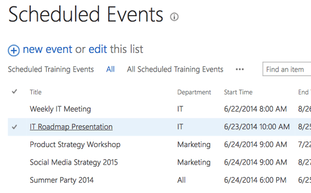 Scheduled Events in SharePoint