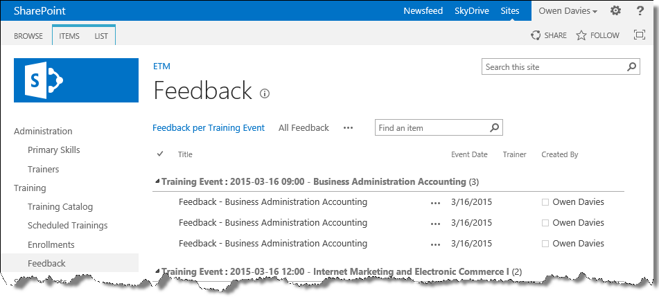 SharePoint Employee Training Management User Guide – Employee Feedback Forms