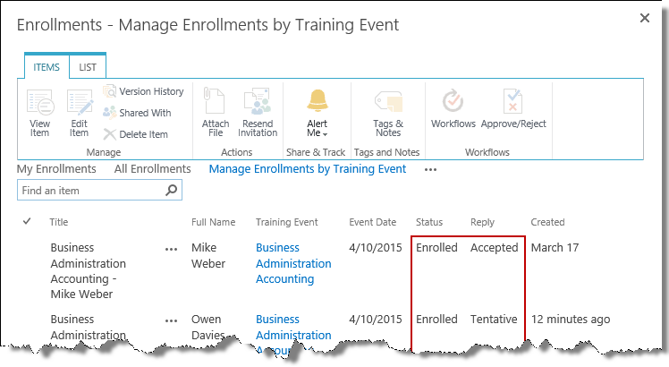 Manage training enrollments