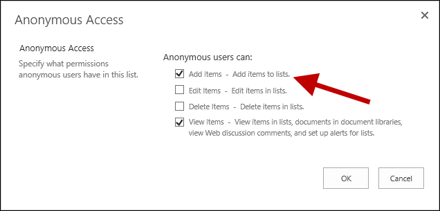 Anonymous user can add and view items