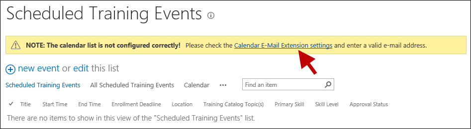 Click on Calendar E-Mail Extension settings