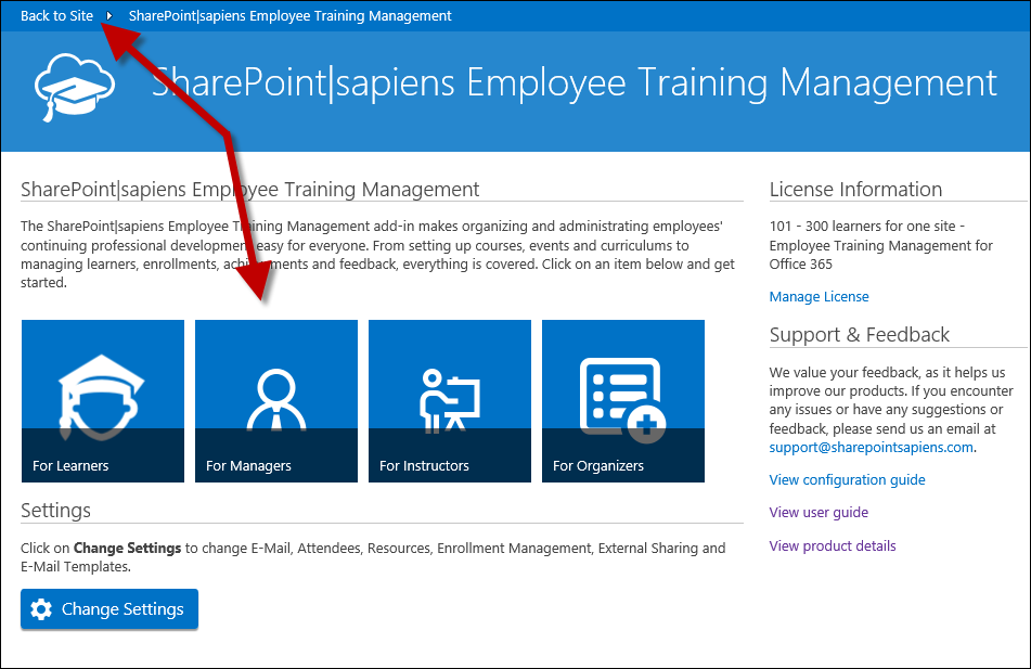 Employee Training Management for Office 365 - Configuration