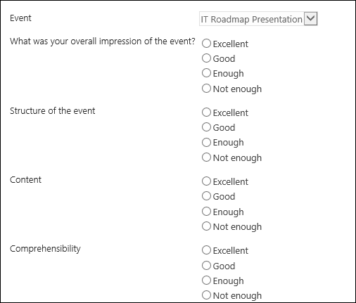 How to collect feedback with Event Management for Office 365 – Event Feedback Form