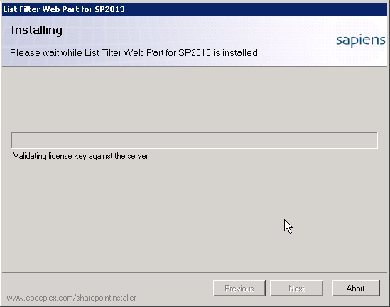 SharePoint List Filter Web Part Setup - Validating License