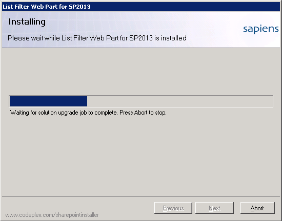 SharePoint List Filter Web Part Setup - Installation Progress
