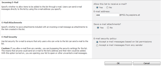 Incoming E-Mail Settings