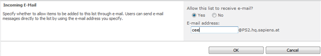 configure incoming e-mail settings