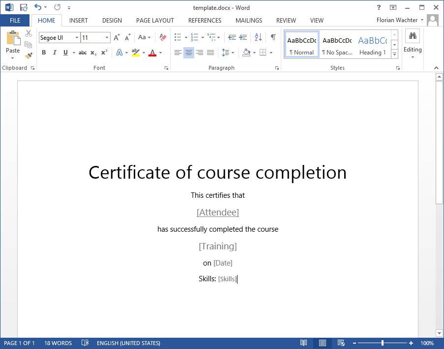 Create Document Template  Certificate Of Training Template